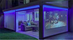 liferoom with blue mood lighting