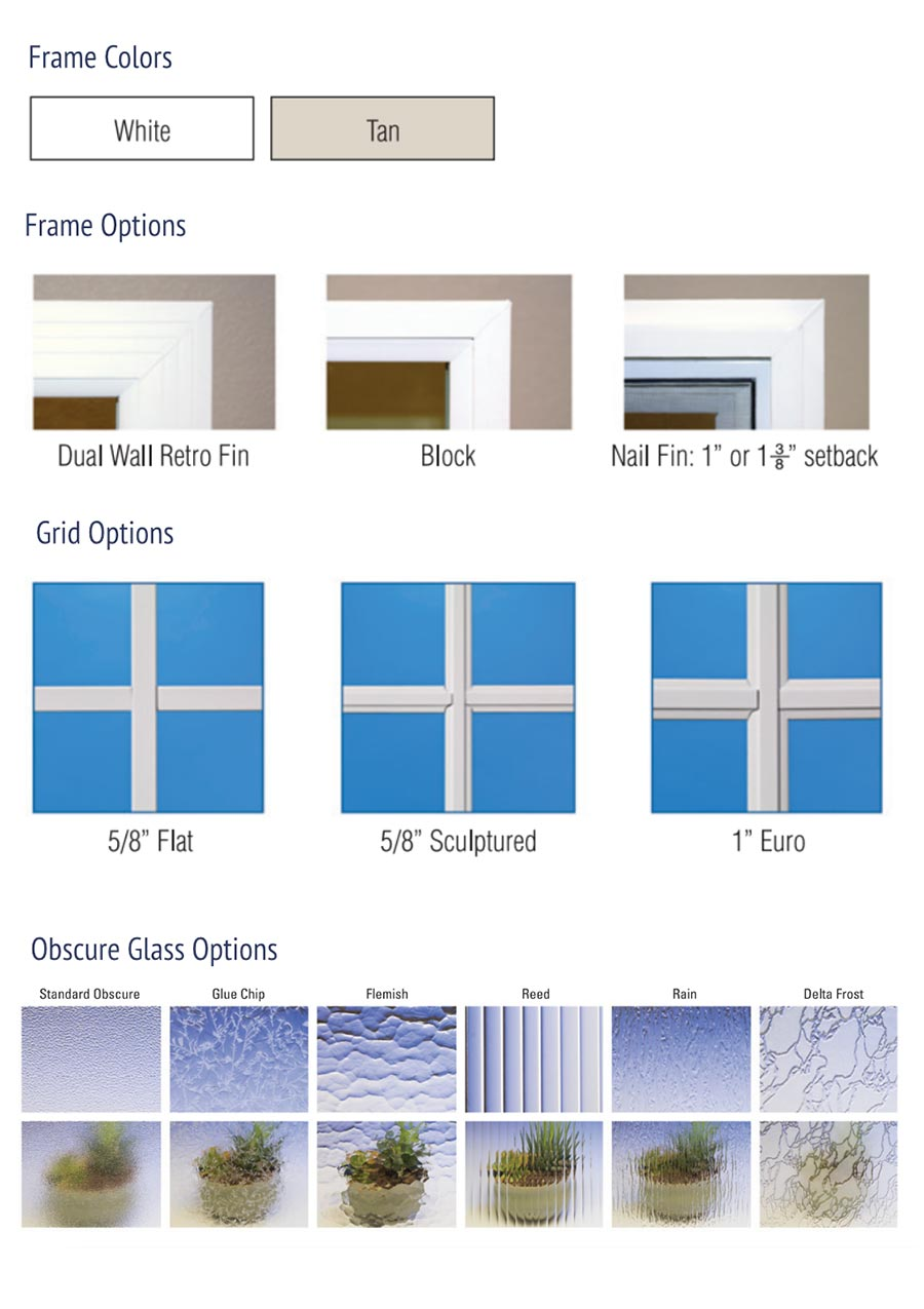 Monteverde Window Frames and Glass Options
