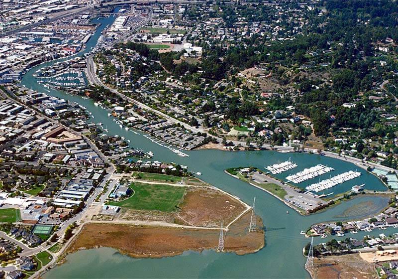 San Rafael California Canal Aerial View