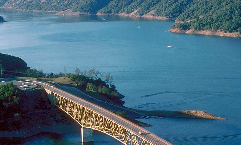 Sonoma County Overhead View of Bridge and Lake